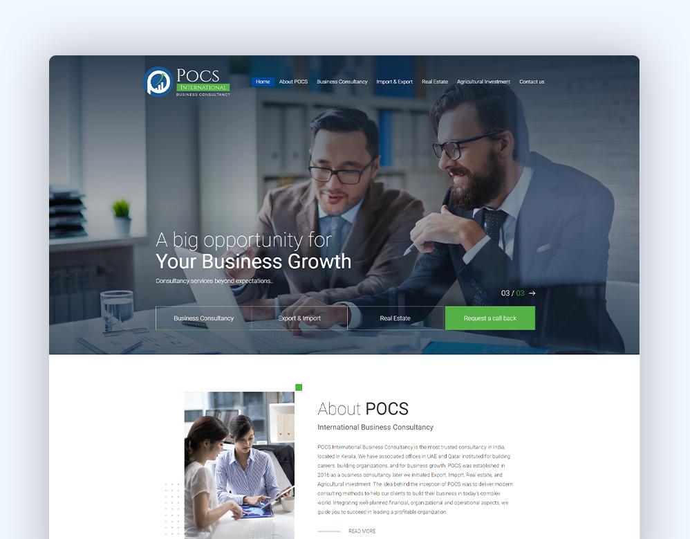 web designing client POCS International portfolio