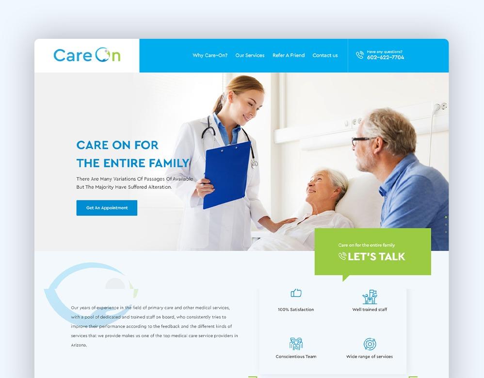 Web Designing client CARE ON portfolio