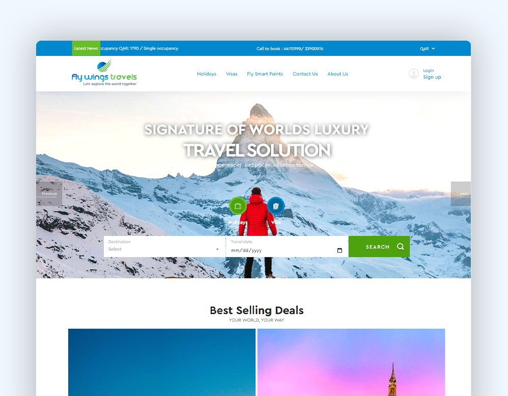 web designing Client Fly Wing Travels