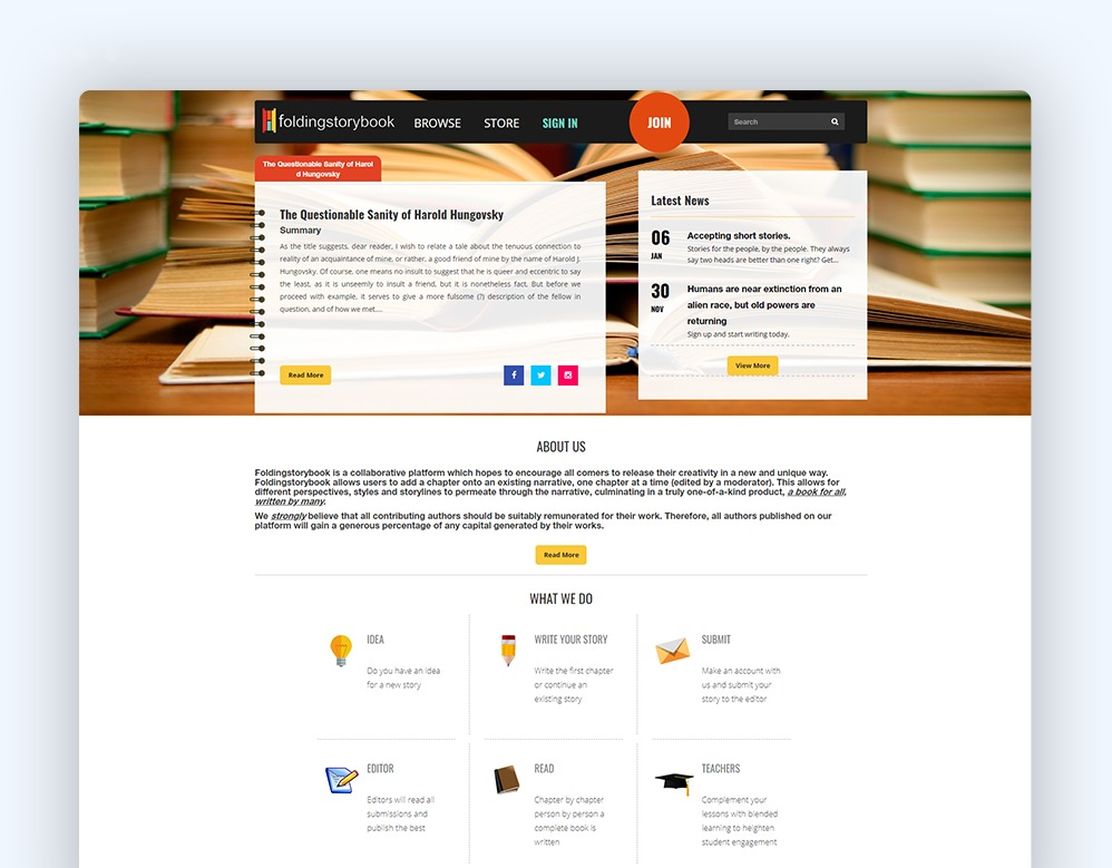 web designing Client Folding Story Book