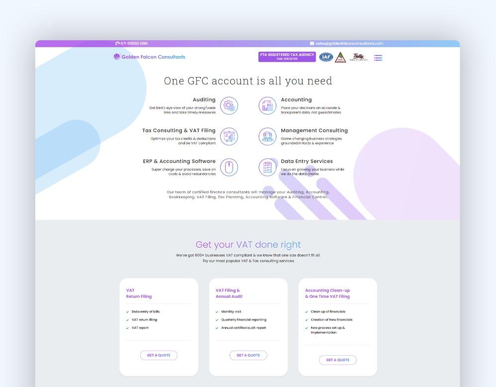 web designing Client Golden Falcon Consultants