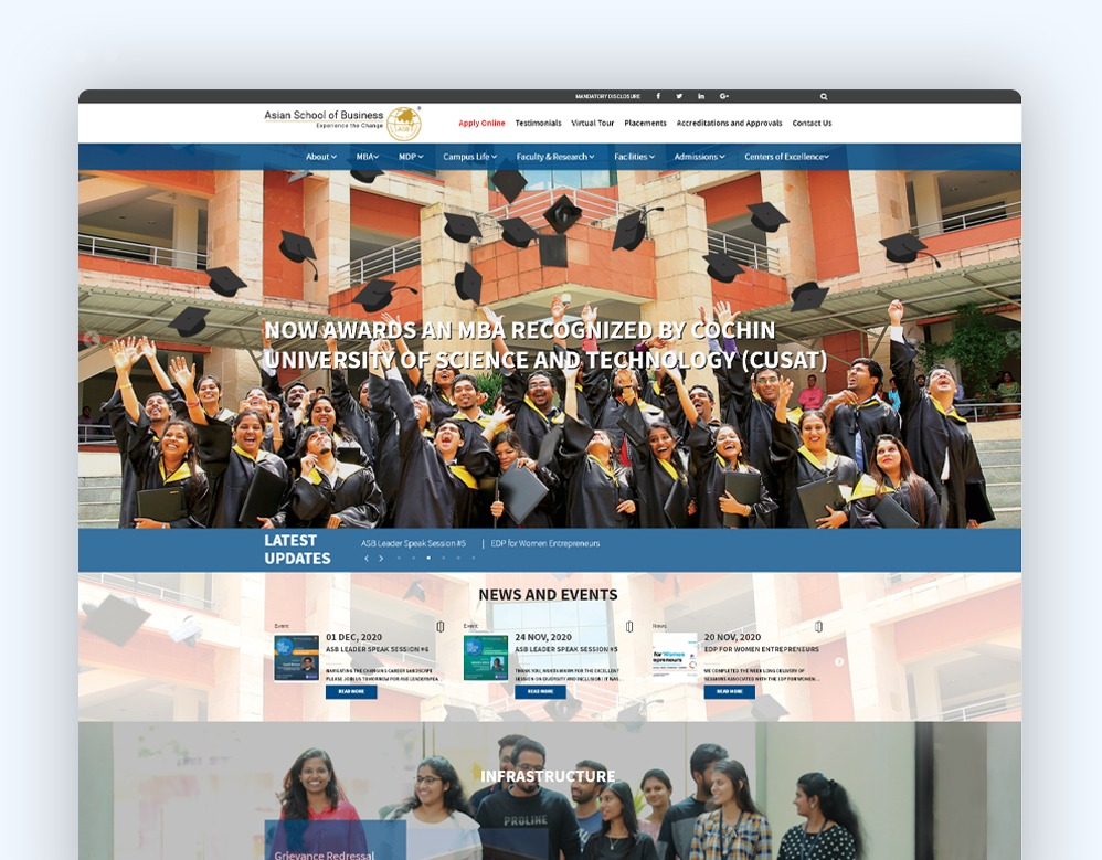 web designing Client Asian School Of Business
