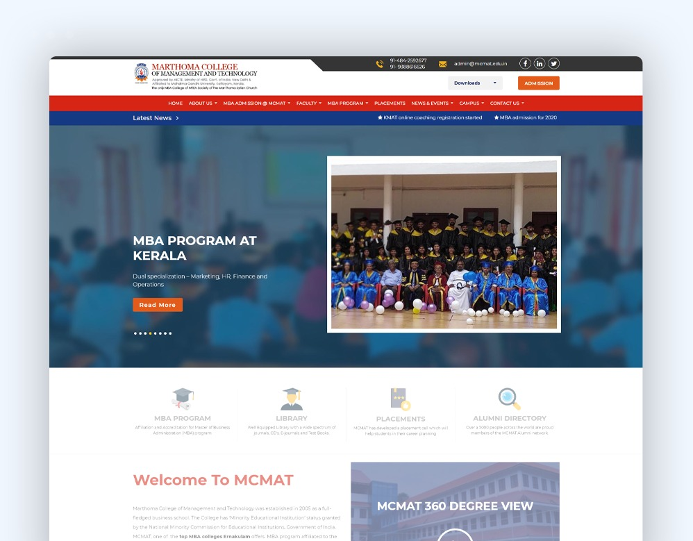 web designing Client Mar Thoma College of Management and Technology