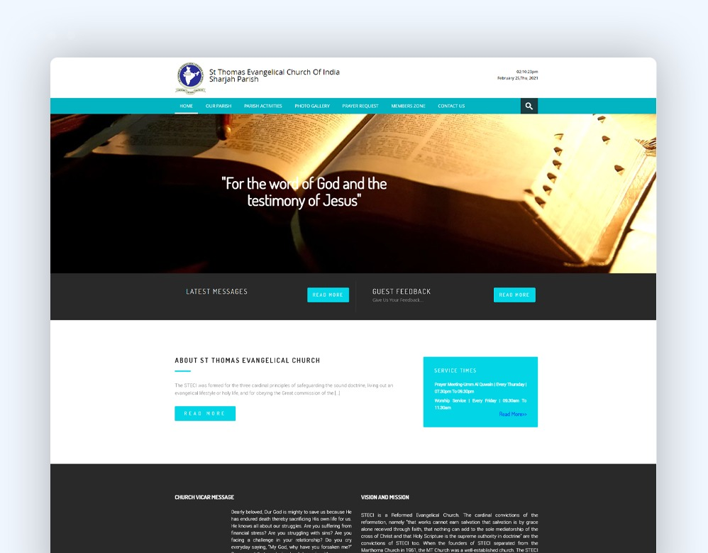 web designing Client St Thomas Evangelical Church Of India Sharjah Parish