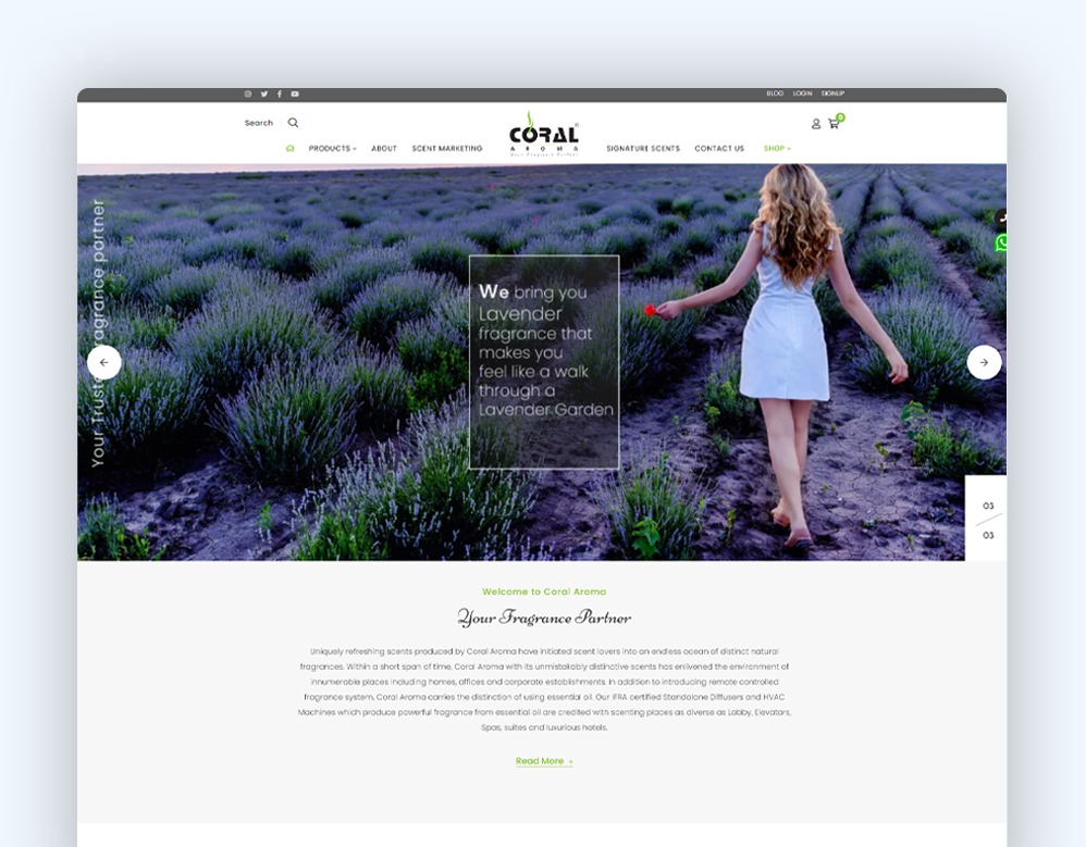 web designing Client Coral Aroma