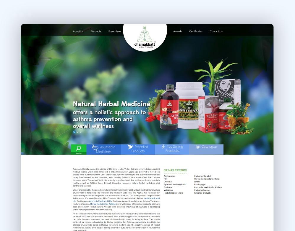 web designing Client Chamakkatt Herbal Products