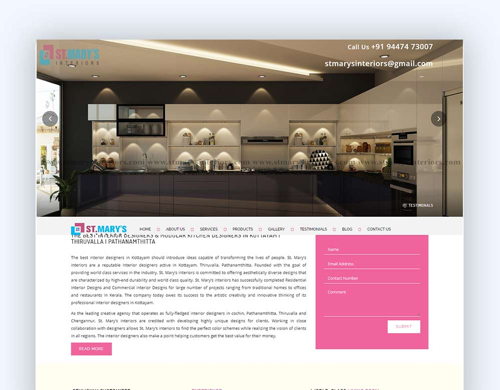 web designing Client  St.Mary's Interiors