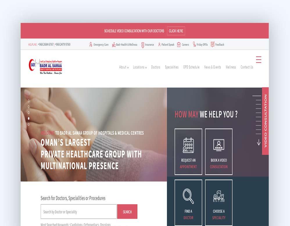 web designing Client Badar al samaa Hospital